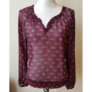 Lucky Brand  Sheer Long Sleeve Blouse Size S